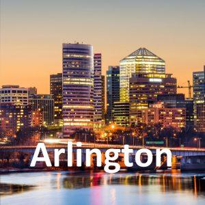 Rosslyn, Arlington, Virginia, USA skyline on the Potomac River.